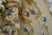 1y VINTAGE SCHIFFLI BLUE TULIP FLOWER APPLIQUE LACE RIBBON TRIM FRENCH DOLL BEAR