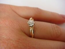14K GOLD LADIES ENGAGEMENT DIAMOND RING, PLAIN SETTING, 0.30 CT T.W., SIZE 6.