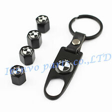 Key chain Metal Car Wheel Tyre Tire Stem Air Valve Cap For BMW Vehicles B&W