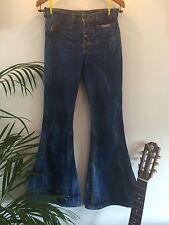 Vintage Gentle Folk : Blue Denim Acid wash Flared Jeans : Hippy Boho 70s : UK 8