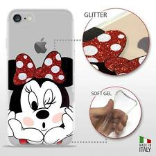 IPHONE 7 TPU COVER PROTETTIVA GEL TRASPARENTE GLITTER DISNEY MINNIE MOUSE