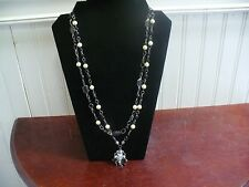 "Silvertone Metal Faux Pearl Black Plastic Bead Flower Pendant 25"" Necklace"