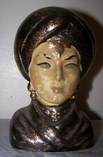 "Lefton Japan Head Vase Headvase Ethnic Woman w/Turban Black and Gold 6"""