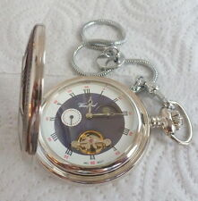 WOODFORD  HALF HUNTER POCKET  WATCH AND CHAIN  WORKING