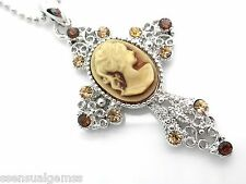 Cross Cameo Center Crystal Pendant Women's Necklace Silver plated