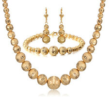 Chunky Indian Bridal Earring Rosary Bracelet 65 Beads Necklace sets Gold filled
