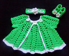 crochet green baby girl dress headband and mary janes handmade 3-6 months