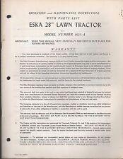 """ESKA 28"""" LAWN TRACTOR 1625-A OPERATORS & PARTS MANUAL FORM 90873   (145)"""