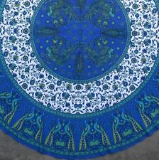 Handmade 100% Cotton Floral Peacock 72 Inch Round Tablecloth Astonishing Blue
