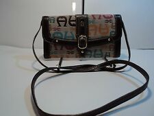 Etinne Aigner Brown Leather & Cotton Signature Monogram Cross Body/Clutch/Wallet