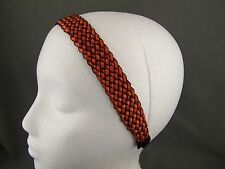 "Orange Black braided woven satin ribbon cord stretch elastic headband 1"" wide"