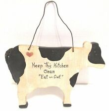 "Country Decor Kitchen Wall Hanging Wood Cow ""Keep This Kitchen Clean...Eat Out"""