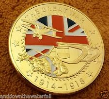 1914 World War I Gold Coin England Union Jack Soldier Tank Plane Troops Battle