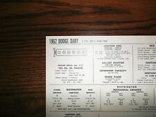 1962 Dodge Dart SIX Series SD1-L & Taxi Models 225 CI L6 Tune Up Chart