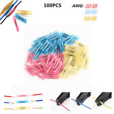 100pcs Assorted 22-10AWG Heat Shrink Butt Wire Connectors Crimp Terminals Kit
