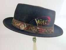 Mens Vtg Pilgrim 1950's Fedora Rockabilly Wool Hat Feather Band Syl-Mer Sz Small