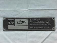 ORIGINAL DDR REICHSBAHN SCHILD VEREINIGTER SCHIENENFAHRZEUGBAU DESSAU