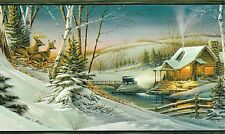 COUNTRY DEER IN THE WOODS LOG CABINS OLD CAR WINTER TIME Wallpaper bordeR Wall