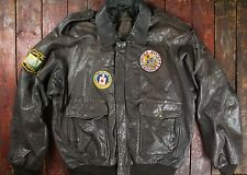 VTG HIDESIGN BROWN LEATHER PATCHED A-2 STYLE FLIGHT BOMBER JACKET USAF LONG 50