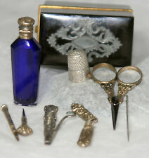 ETUl Complete Sewing DOLL TOOLS Set Antique c1700~~AGATE BLOOD STONE~~ORIGINAL