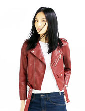 Vintage Women Slim Biker Motorcycle Jacket PU Soft Leather Zipper Coat Outwear
