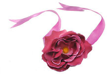 BLUSH RED/ PINK ROSE FLORAL HAIR TIE W RIBBON AND GLITTER EDGED PETALS (ZX52)