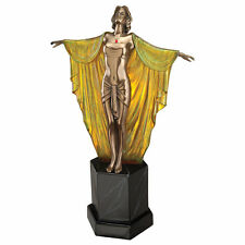 Female Arms Outstretched Art Deco Bronze Illuminated Sculpture Lamp Jazz