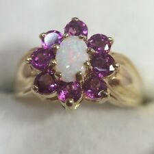 10k Yellow Gold 1+Ct Opal Pink Topaz Sapphire Diamond Halo Wedding Estate Ring 5