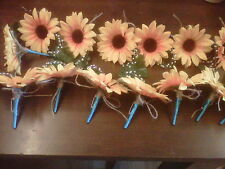 wedding sunflower buttonhole 14 corsages with  shabby chic twine .teal ribbon