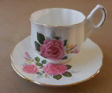 Royal Dover Porcelain Cup & Saucer - Rose Design, Gold Trim