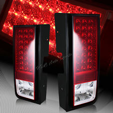 For 2003-2009 Hummer H2 Chrome Red/Clear Lens LED Rear Brake Tail Lights Lamp