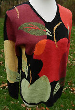 NORTHERN ISLES Black LS V-Neck Sweater with Red Green Apples Graphic Design Sz M