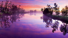 Framed Print - Purple River Under a Purple Morning Sky (Picture Poster Water)
