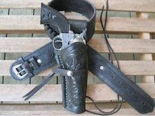 Black Leather .357 caliber Gun Belt and Tooled holster Western style Custom
