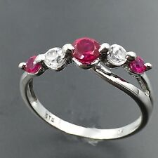 10K WHITE GOLD CLEAR CUBIC ZIRCONIA RUBY BRIDGE DESIGN RI SIZE 6.75 #1661