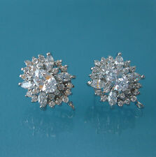 Oval Cubic Zirconia CZ Rhodium Plated Ear Stud Earrings Post Earstud Findings.