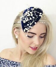 NAVY BLUE VELVET TEARDROP PERCHER HAT FASCINATOR PEARL VINTAGE WEDDING RACES