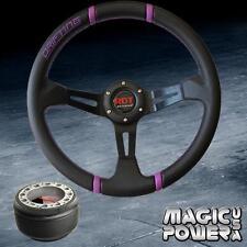 350mm Black Deep Dish Steering Wheel & Hub Adapter Celica 82-03 Purple Stitching