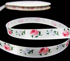 "5 Yds Pink Rose Roses White Satin Ribbon 3/8""W"