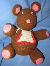 VINTAGE  BROWN & PINK CROCHETED YARN PLUSH 15 INCH LARGE FAT CUTE OLD TEDDY BEAR