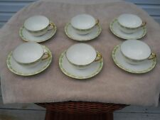 """LIMOGES FRANCE """"BAWO & DOTTER"""" ELITE WORKS SET OF SIX TEACUPS AND SAUCERS DAISY"""