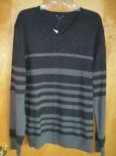 NWT NEW mens size L gray striped GAP cotton nylon wool blend v-neck sweater $44