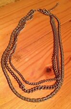 Vintage Gold Tone Necklace/Multi Strand/Snake Chain?/Retro/80's/Kitsch/20'