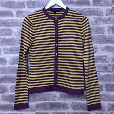 Boden Purple Yellow Stripe Cardigan Size 10 Cashmere, Angora, Cotton Blend