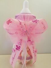 "Baby Shower Pink Butterfly Centerpiece Fillable Bottle Large 14"" Piggy Bank Girl"