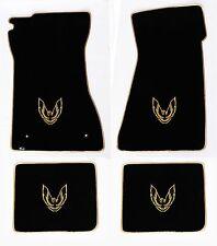 NEW! FLOOR MATS 1970-1981 PONTIAC FIREBIRD Embroidered Logo Gold w/ Gold Binding