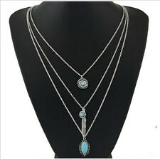 New Charm Womens Tibetan Silver Multi Layers Feather Turquoise Pendants Necklace