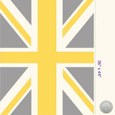 140125658 -New Union Jack Flag Panel Yellow and Gray Fabric Great Britain London