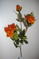 12 New Stems Orange Spray Rose Artificial Silk Flowers x3 Blooms