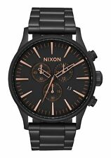 Nixon Sentry Chrono Watch in All Black/Rose Gold A386-957-00 Free Shipping